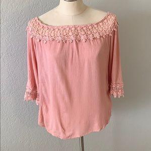 Off the shoulder light pink blouse